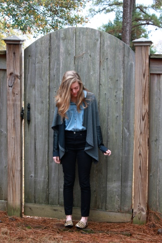 Denim shirt - Forever 21 High-waisted jeans - Forever 21 / Cardigan - Anthropologie / Leopard flats - DSW / Gold chain necklace - Gift from my grandmother