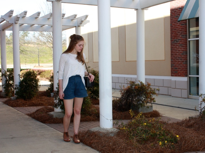 Shirt - TJ Maxx / Shorts - Lotus Boutique / Purse - Vintage Camera Bag / Ankle Boots - Forever 21