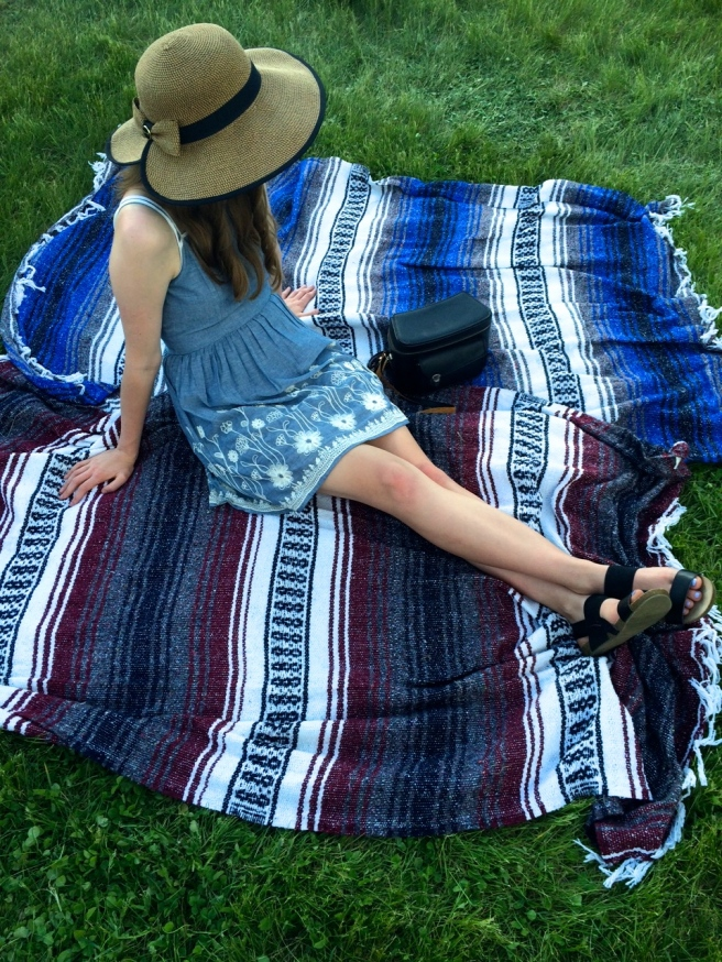 Hat- Equine Accents on Etsy / Dress - Francesca's / Sandals - Target / Purse - Vintage