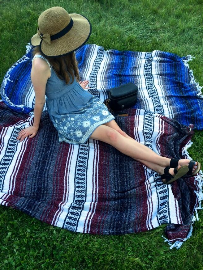 Hat- Equine Accents on Etsy / Dress - Francesca's / Sandals - Target / Purse - Vintage
